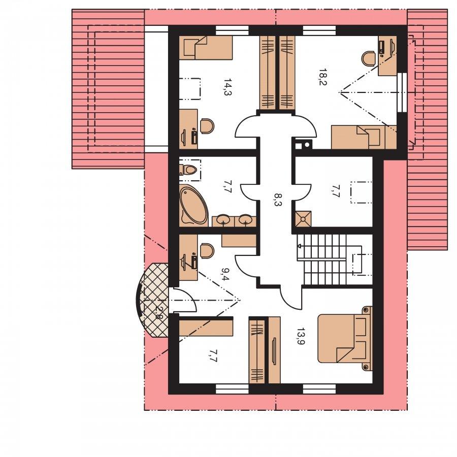 Pôdorys Poschodia - Elegantný dom s garážou