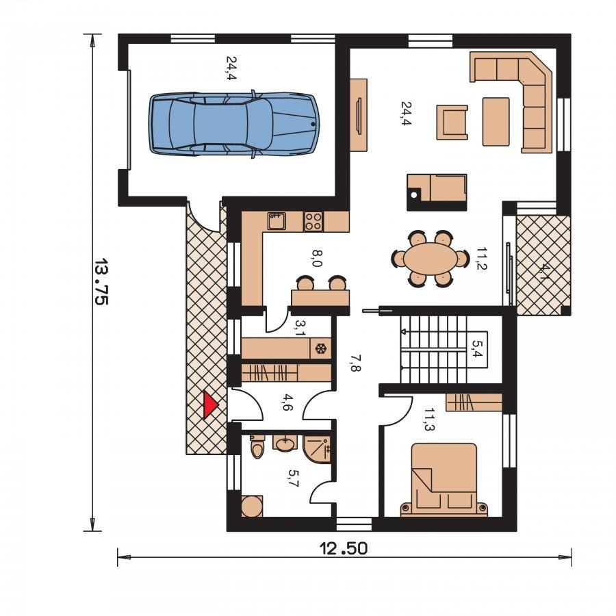 Pôdorys Prízemia - Elegantný dom s garážou