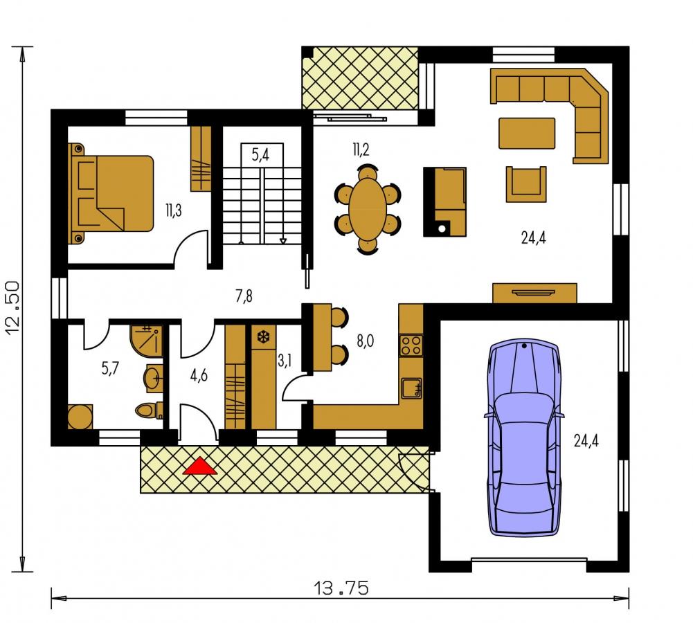 Pôdorys Prízemia - Elegantný dom s garážou.