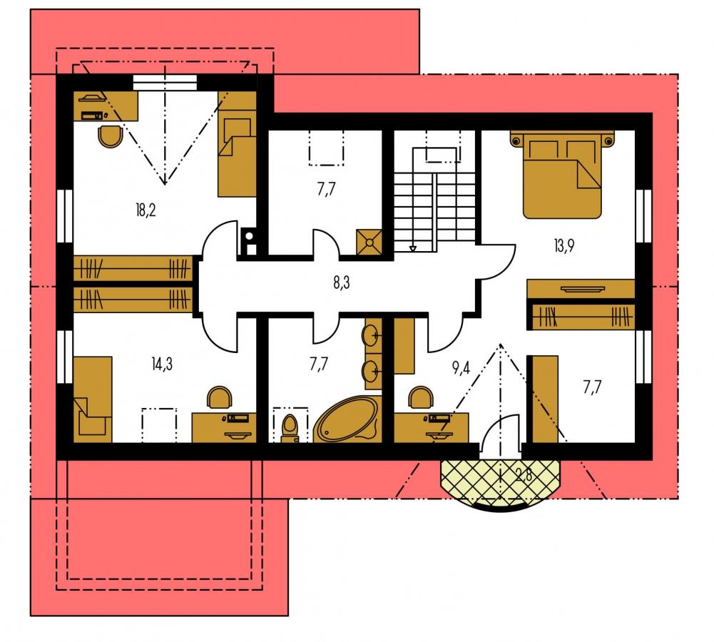 Pôdorys Poschodia - Elegantný dom s garážou.