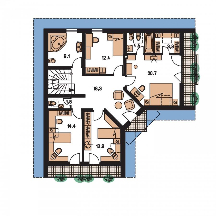 Pôdorys Poschodia - Krásny veľký dom aj so suterénom