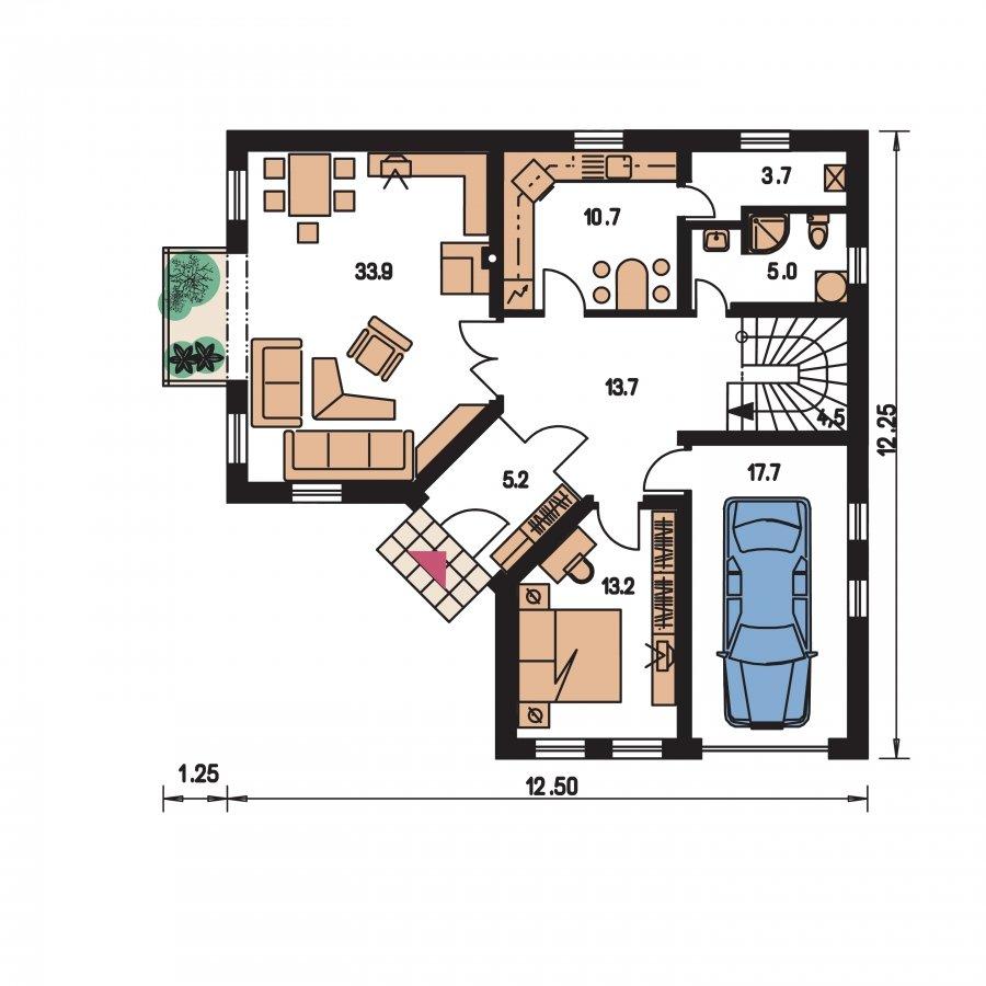 Pôdorys Prízemia - Krásny veľký dom aj so suterénom