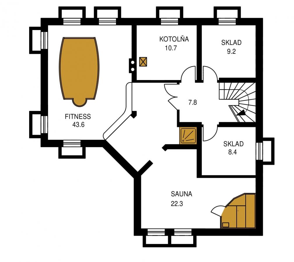 Pôdorys Suterénu - Krásny veľký dom aj so suterénom.