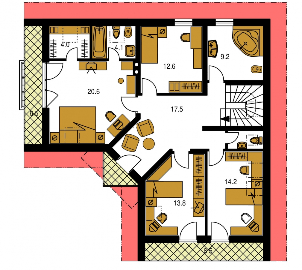 Pôdorys Poschodia - Krásny veľký dom aj so suterénom.