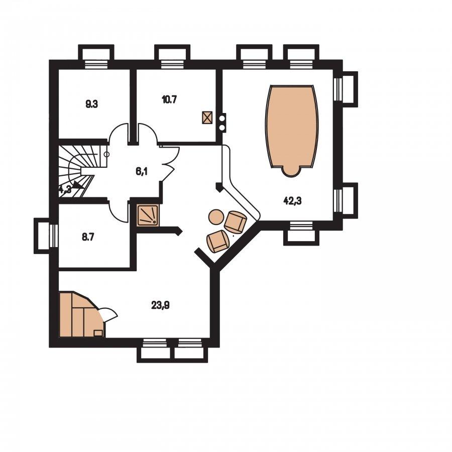 Pôdorys Suterénu - Krásny veľký dom aj so suterénom