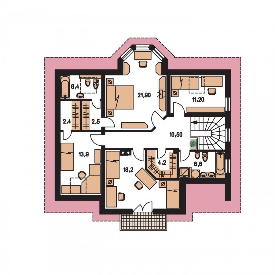 Pôdorys Poschodia - Rodinná vila so suterénom, možnosť dvojgeneračného bývania