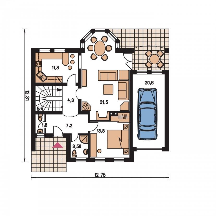 Pôdorys Prízemia - Rodinná vila so suterénom, možnosť dvojgeneračného bývania
