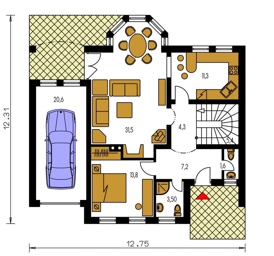 Pôdorys Prízemia - Rodinná vila so suterénom, možnosť dvojgeneračného bývania.