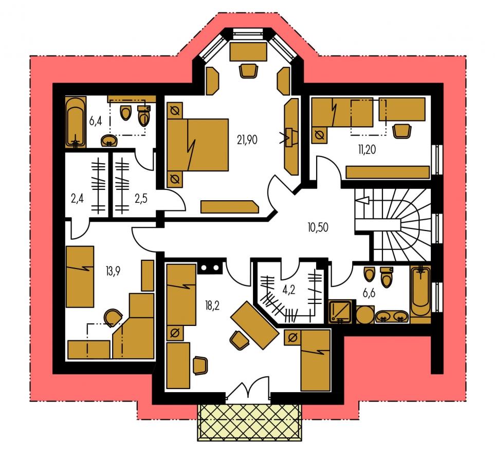 Pôdorys Poschodia - Rodinná vila so suterénom, možnosť dvojgeneračného bývania.