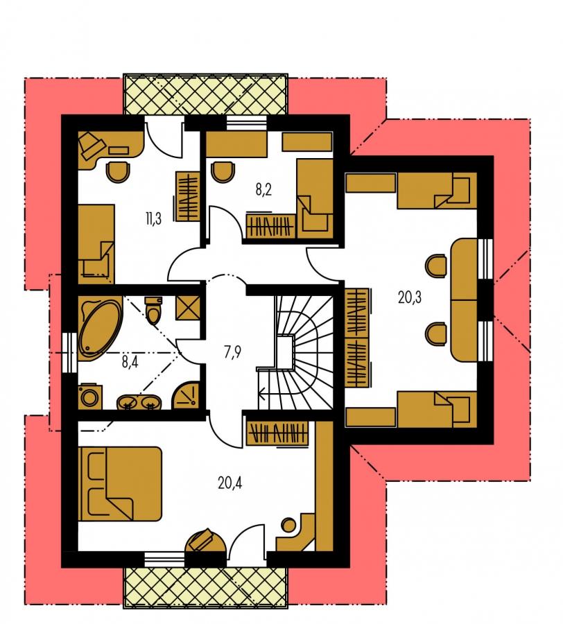 Pôdorys Poschodia - Prekrásny dom pre početnú rodinu.
