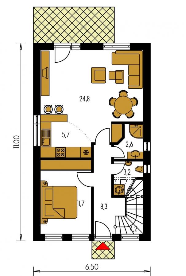 Pôdorys Prízemia - Iba 6,5 metrov široký moderný dom