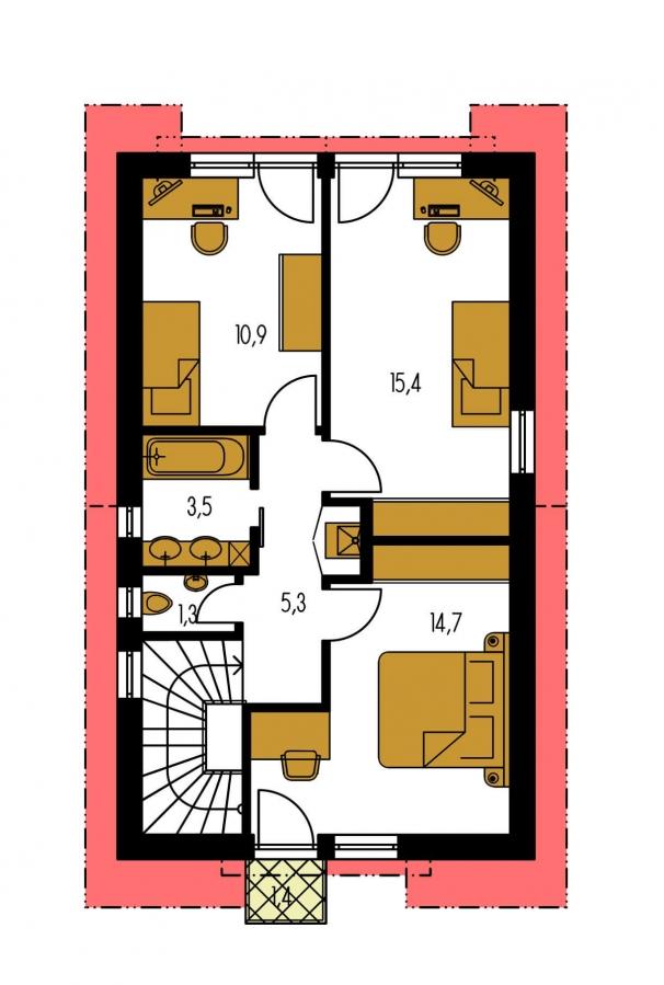 Pôdorys Poschodia - Iba 6,5 metrov široký moderný dom.