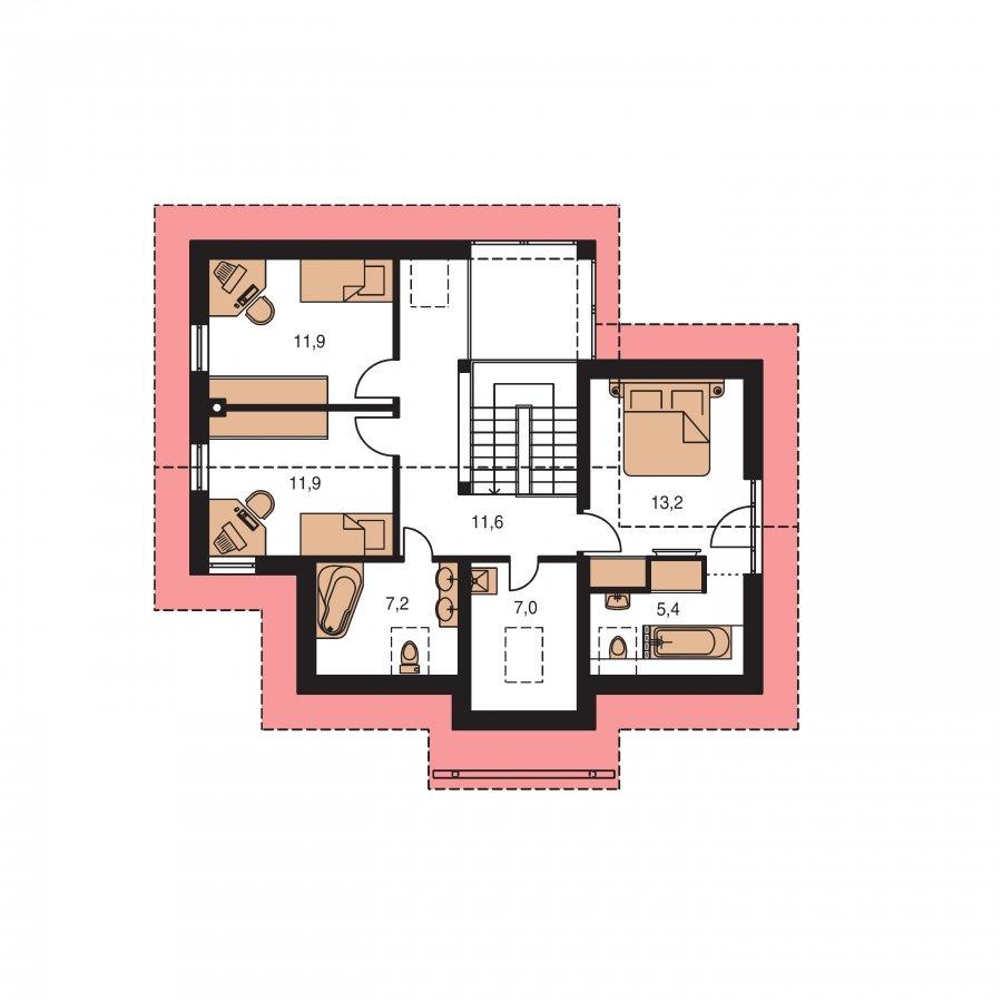 Pôdorys Poschodia - Priestranný dom so sedlovou strechou