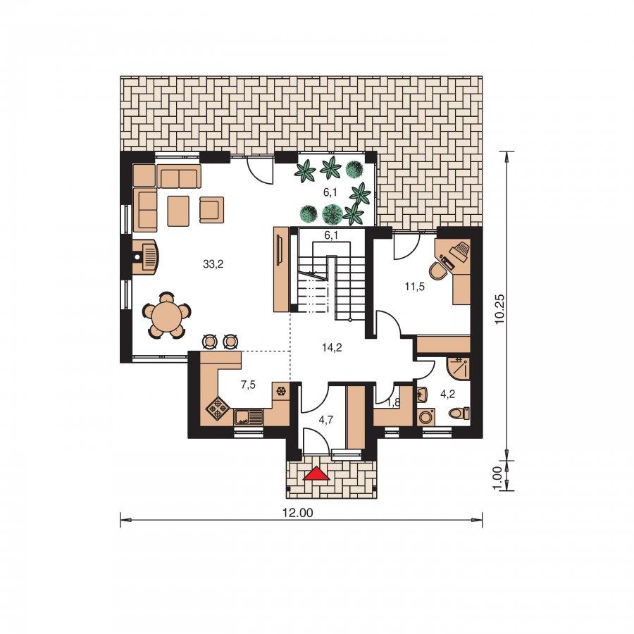 Pôdorys Prízemia - Priestranný dom so sedlovou strechou