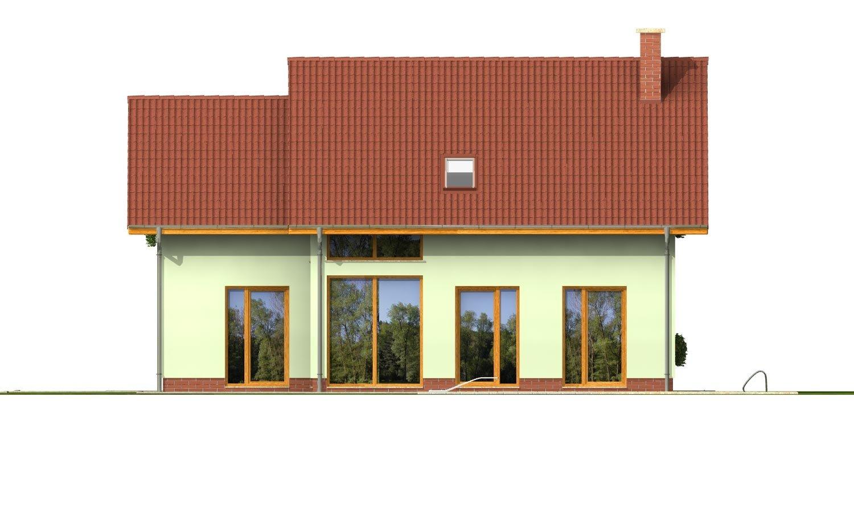 Pohľad 3. - Priestranný dom so sedlovou strechou.