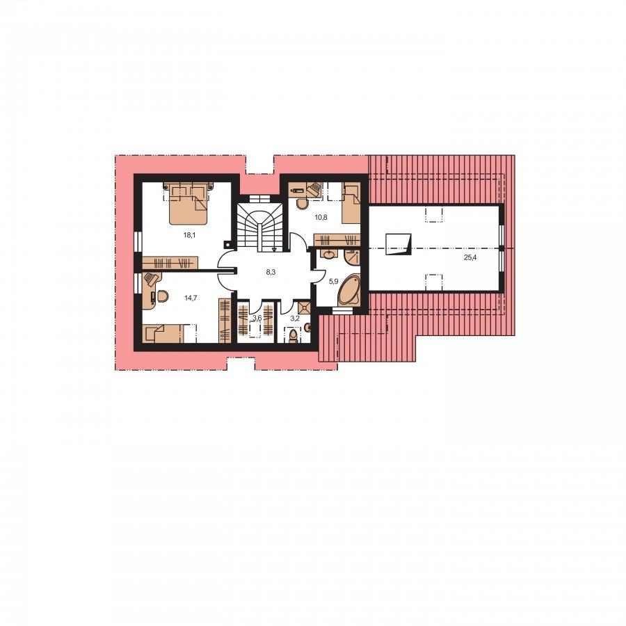 Pôdorys Poschodia - Veľký dom vhodný na užší pozemok
