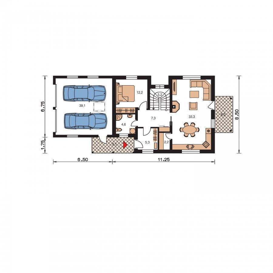 Pôdorys Prízemia - Veľký dom vhodný na užší pozemok