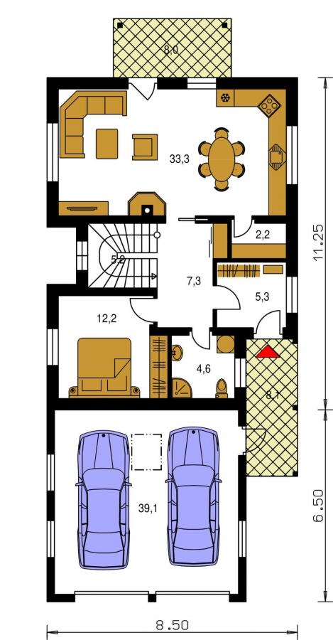 Pôdorys Prízemia - Veľký dom s izbou aj na prízemí a dvojgarážou vhodný na užší pozemok.
