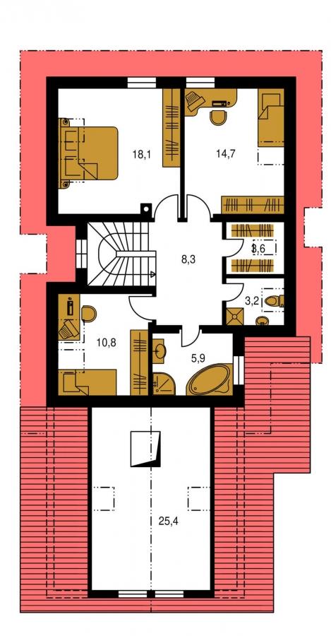 Pôdorys Poschodia - Veľký dom s izbou aj na prízemí a dvojgarážou vhodný na užší pozemok.