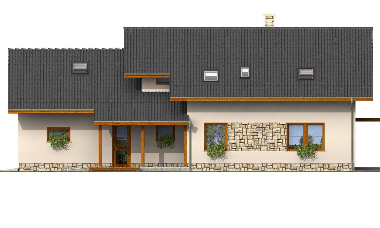 Pohľad 1. - Veľký dom s izbou aj na prízemí a dvojgarážou vhodný na užší pozemok.