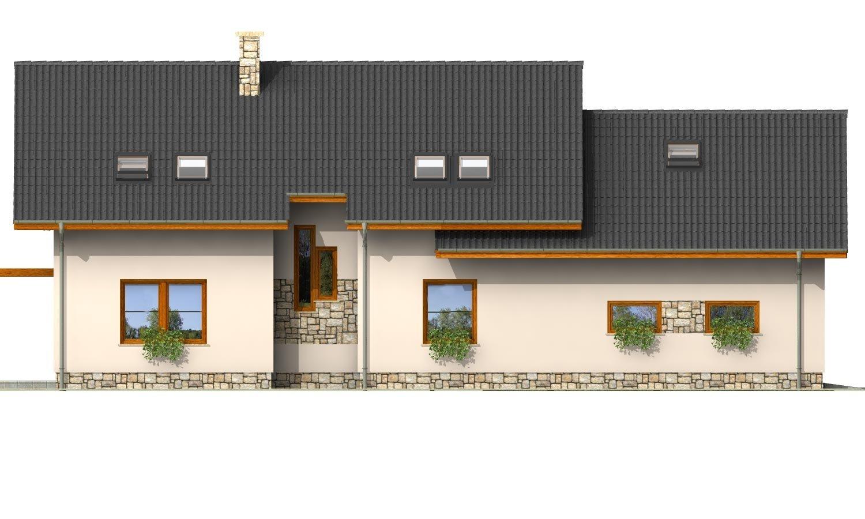 Pohľad 3. - Veľký dom s izbou aj na prízemí a dvojgarážou vhodný na užší pozemok.