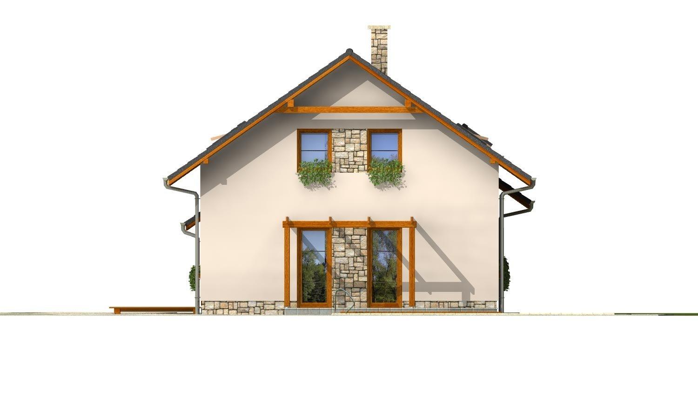 Pohľad 4. - Veľký dom s izbou aj na prízemí a dvojgarážou vhodný na užší pozemok.