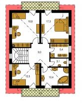 Zrkadlový obraz | Pôdorys poschodia - PREMIER 155