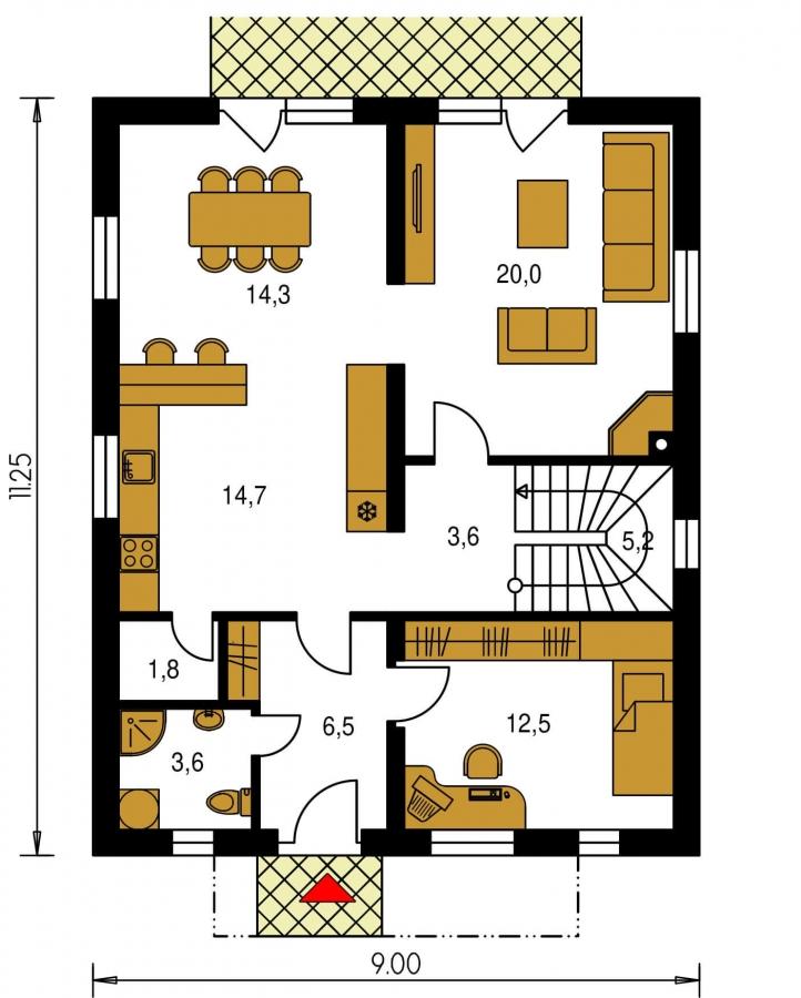 Pôdorys Prízemia - Poschodový RD s izbou na prízemí