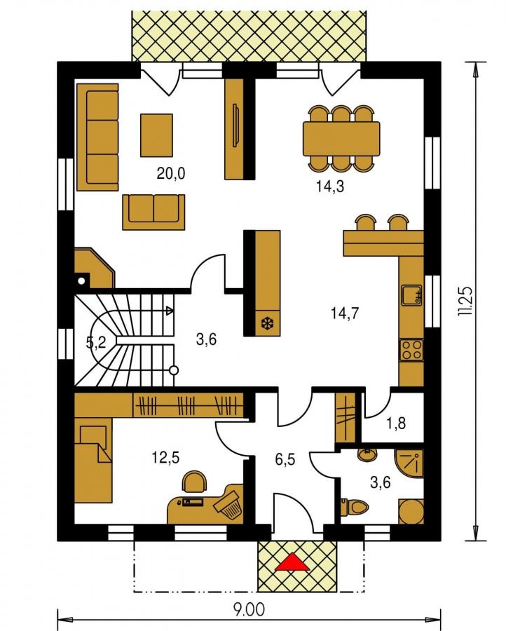 Pôdorys Prízemia - Poschodový RD s izbou na prízemí.