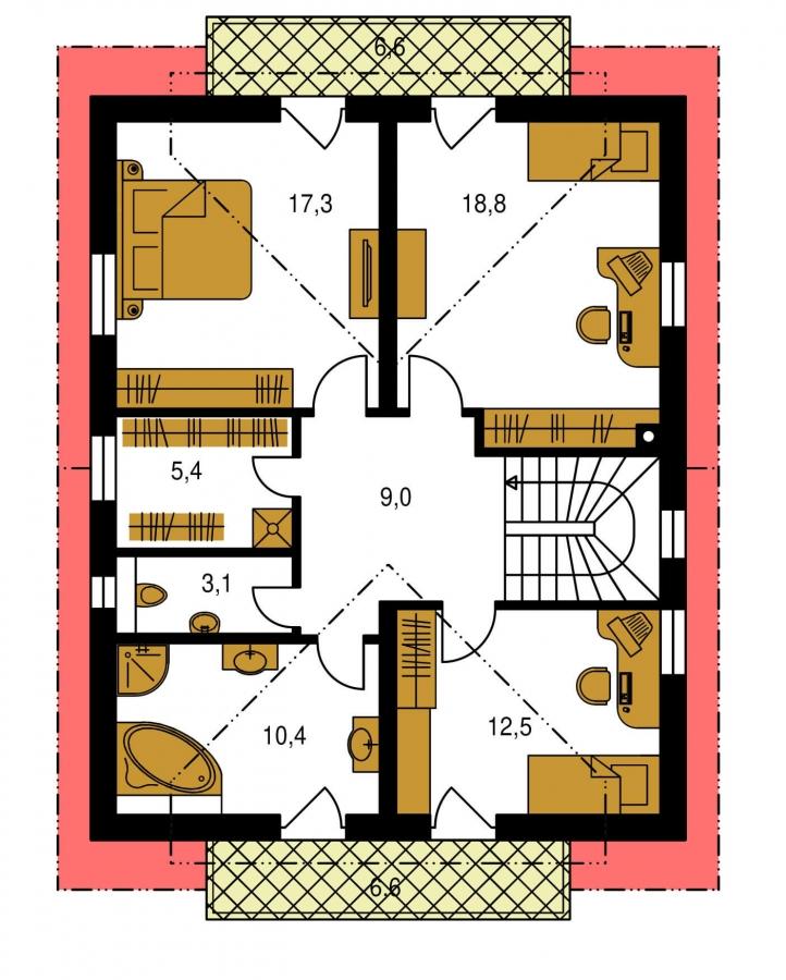 Pôdorys Poschodia - Poschodový RD s izbou na prízemí