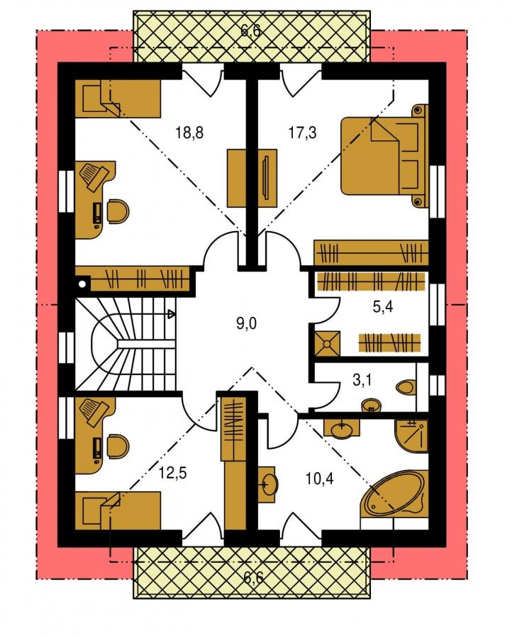 Pôdorys Poschodia - Poschodový RD s izbou na prízemí.