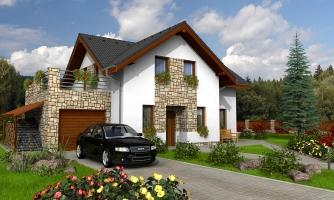Dom s terasou nad garážou