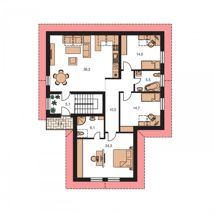 Pôdorys Poschodia - Projekt dvojgeneračného domu