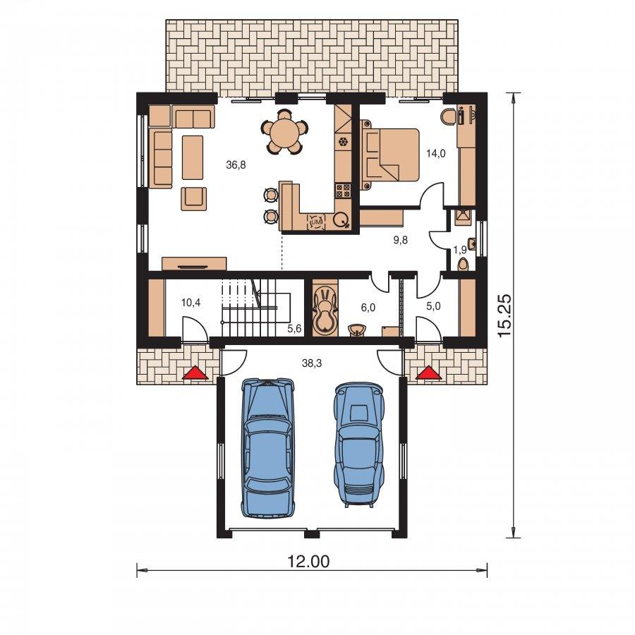Pôdorys Prízemia - Projekt dvojgeneračného domu