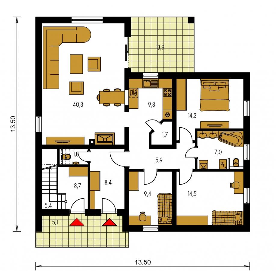 Pôdorys Prízemia - Priestranný dvojgeneračný dom
