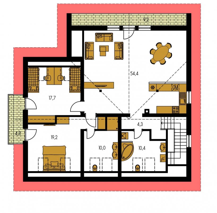 Pôdorys Poschodia - Priestranný dvojgeneračný dom