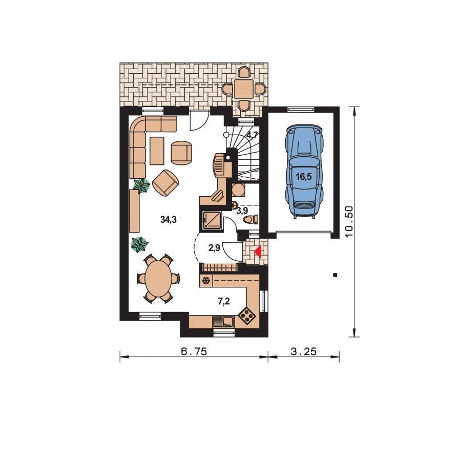 Pôdorys Prízemia - Krásny malý dom