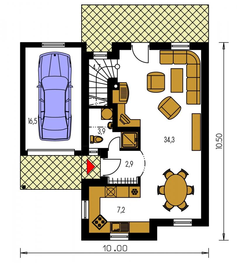 Pôdorys Prízemia - Krásny malý dom. Bez garáže vhodný aj na veľmi úzke pozemky.