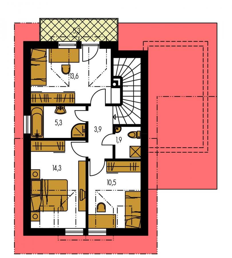 Pôdorys Poschodia - Krásny malý dom. Bez garáže vhodný aj na veľmi úzke pozemky.