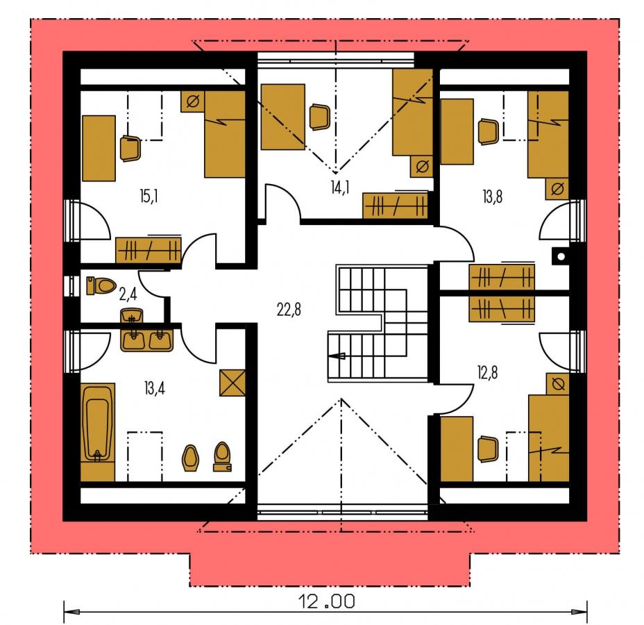 Pôdorys Poschodia - Veľký dom s oddelenou kuchyňou.