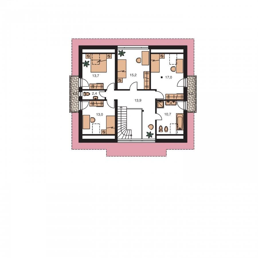 Pôdorys Poschodia - Dom s dvoma izbami na prízemí