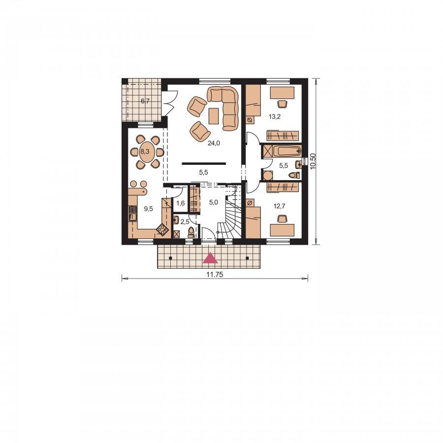 Pôdorys Prízemia - Dom s dvoma izbami na prízemí