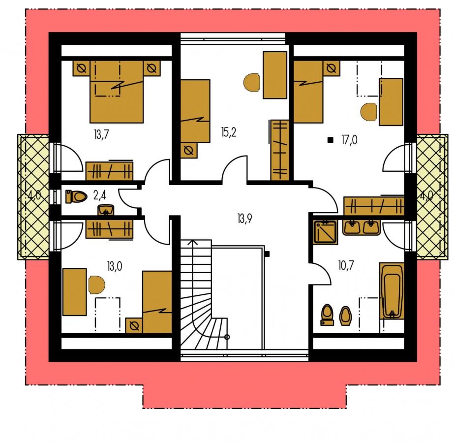 Pôdorys Poschodia - Dom s dvoma izbami na prízemí.