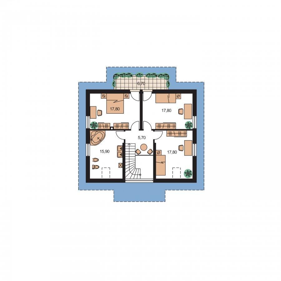 Pôdorys Poschodia - Nádherný dom s presvetlenou obývačkou
