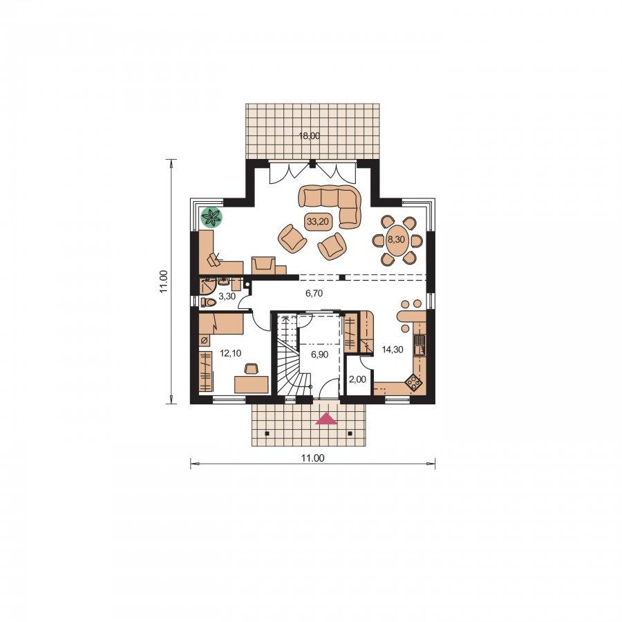 Pôdorys Prízemia - Nádherný dom s presvetlenou obývačkou