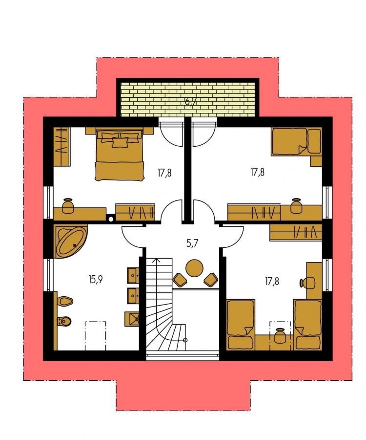 Pôdorys Poschodia - Nádherný dom s presvetlenou obývačkou.