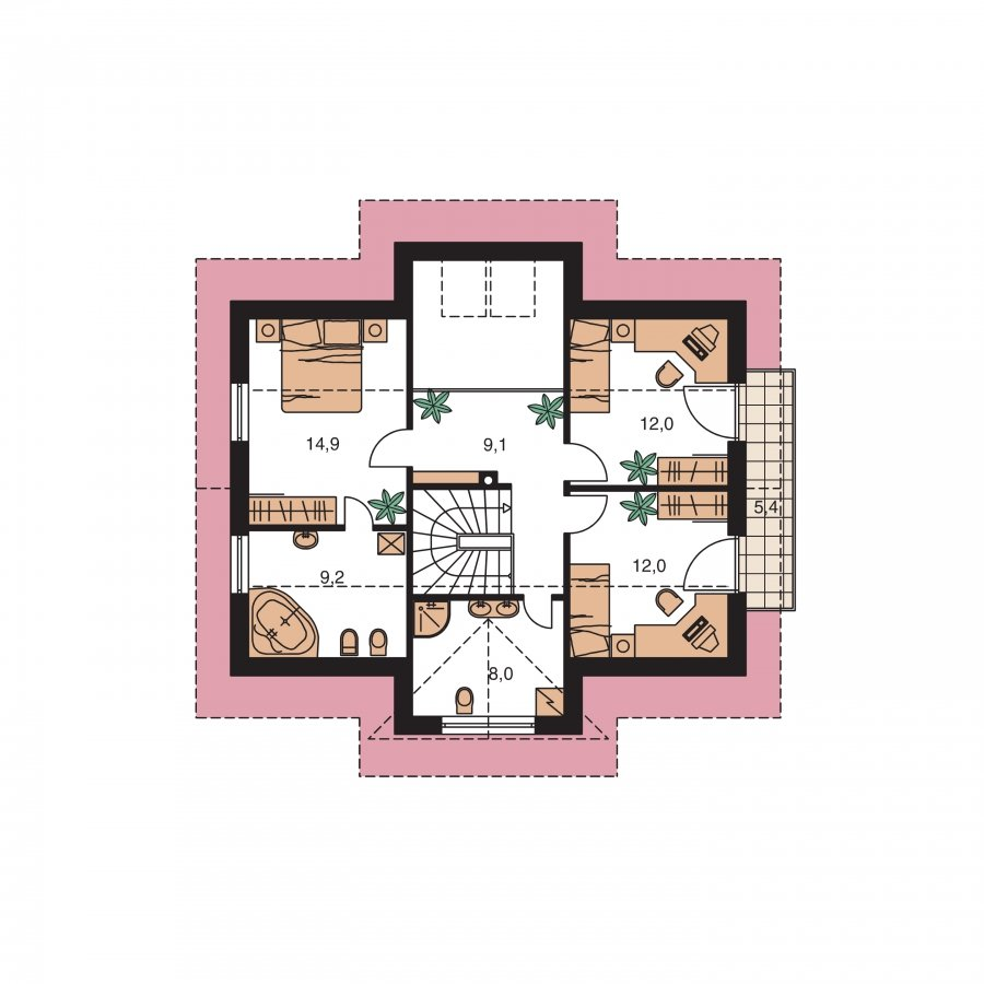 Pôdorys Poschodia - Dom s izbou na prízemí