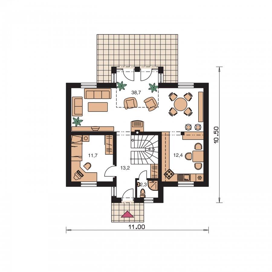 Pôdorys Prízemia - Dom s izbou na prízemí