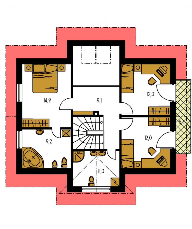 Pôdorys Poschodia - Dom s izbou na prízemí.