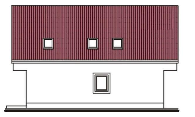 Pohľad 4. - Užší poschodový dom s izbou na prízemí